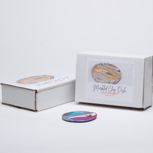 diy pottery kit marbled clay trinket dish packaging