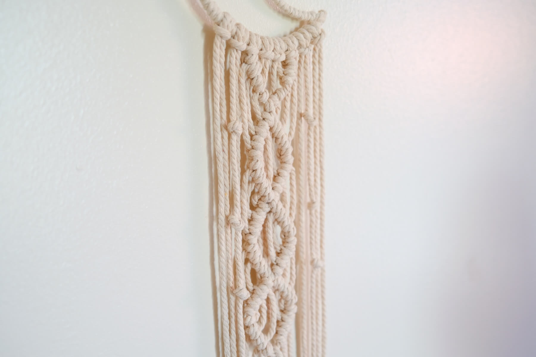 finished macrame ready to add the lights