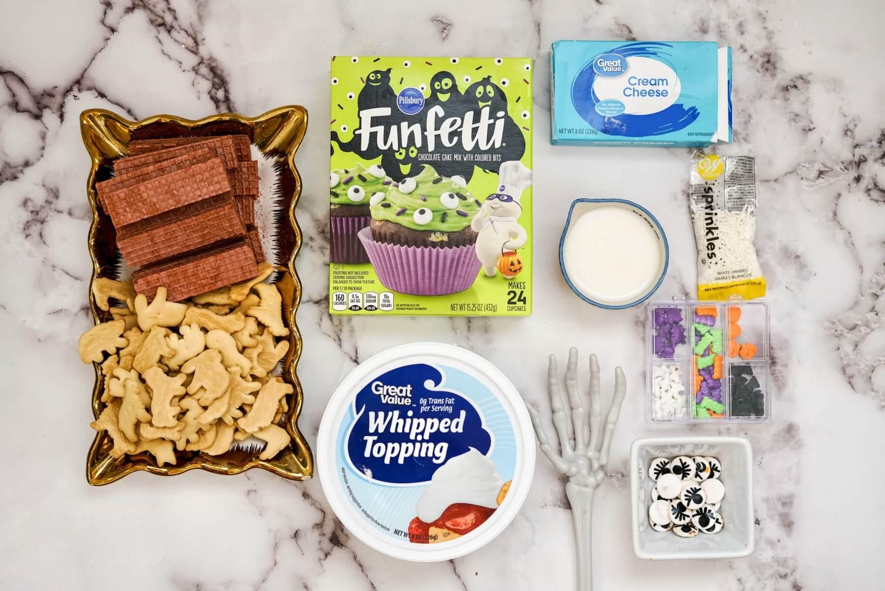 ingredients to make halloween funfetti dessert dip recipe