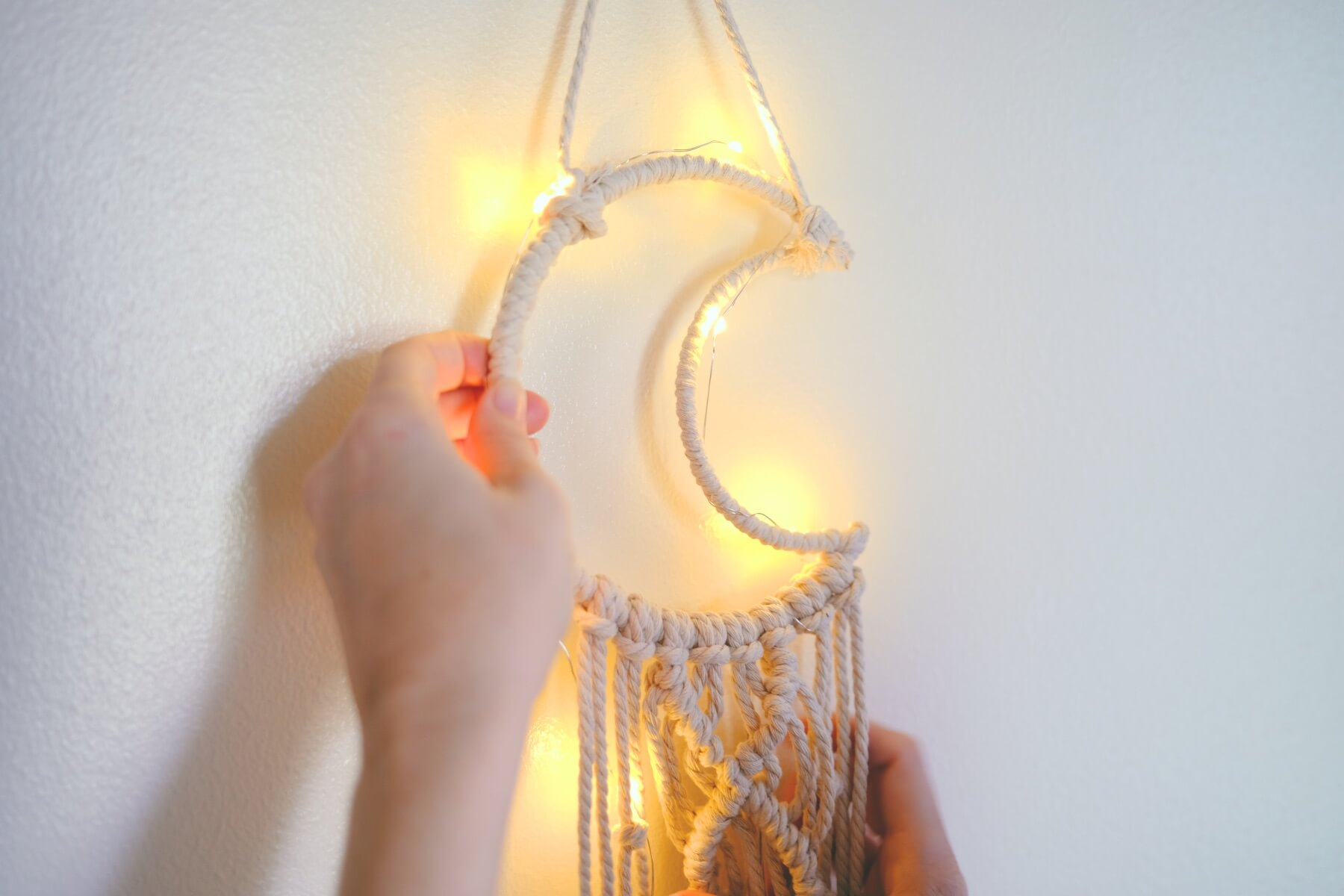 lights on a moon wall hanging craft in style tutorial