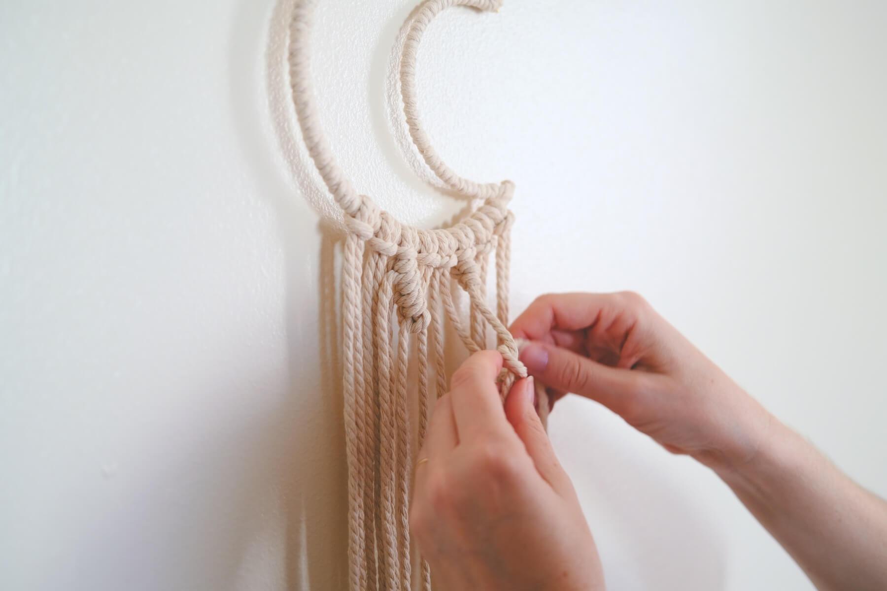 moon macrame wall hanging knot tutorial